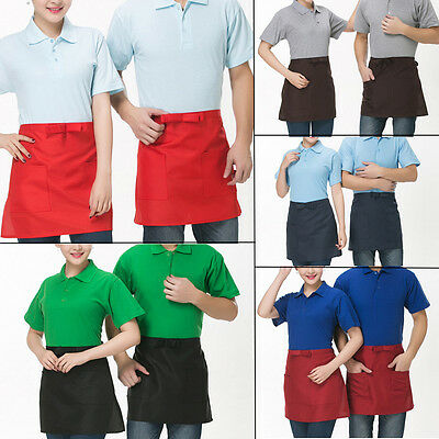 Half-length Short Waist Solid Apron With Pocket Chefs Catering Waiters Bar Apron
