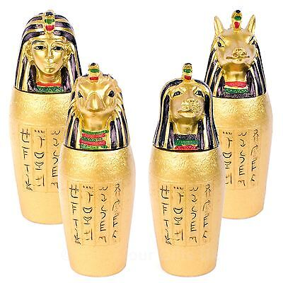 Set of 4 Egyptian Canopic Jars Ancient Egypt Burial Ceremony