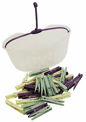 Plastic Pegs Washing Line Peg Basket with 36 Pegs Hanging Built in Hook Handle