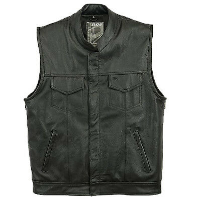 New Mens Son Of Anarchy Real Leather Motorcycle Biker Waistcoat/Vest