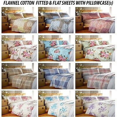 NEW FLANNEL COTTON SINGLE DOUBLE KING FITTED & FLAT SHEET SET WITH PILLOWCASE(s)