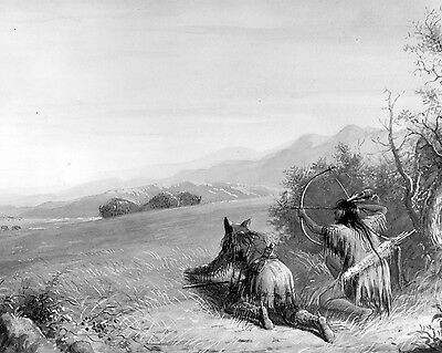 Native American Indians Hunting Buffalo With Bow Painting Real Canvas Art Print