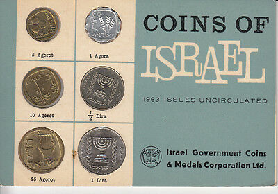 1963 Coins of Israel, 6 Coins, Uncirculated Mint Set