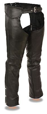 Men's Naked Cowhide Leather Chaps w/ Full Braiding Detail  - Fully Lined