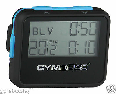 Gymboss Interval Timer And Stopwatch Black / Blue Softcoat Shipped From Canada