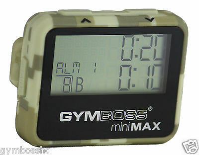 GYMBOSS miniMAX INTERVAL TIMER & STOPWATCH CAMOUFLAGE TAN SOFTCOAT FR CANADA