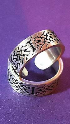 New Toe Ring CELTIC KNOT BAND  Strong Silver Pewter 16mm Bohemian Ethnic Girls