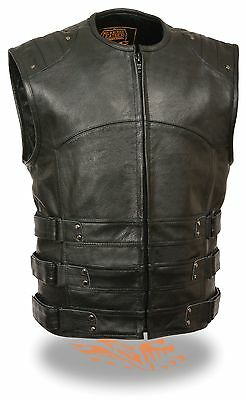 Mens Updated Leather SWAT Style Motorcycle Biker Vest - Perfect Club for Patches