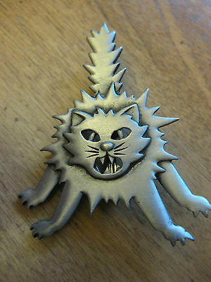 Scary Cat Pewter Brooch  Pin