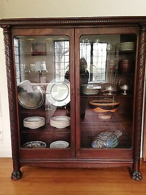 Victorian China Cabinet Carved Claw Foot Solid Mahogany 1800's