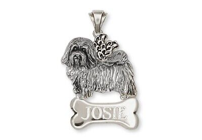 Havanese Angel Personalized Pendant Handmade Sterling Silver Dog Jewelry HV6A-NP