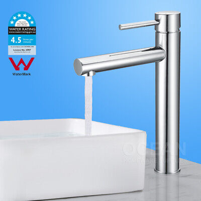 Bathroom Shower ROUND TALL Basin Mixer Tap Sink Laundry Faucet WELS WATERMARK