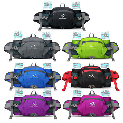 Mens Women Waist Bag Pack Belt Bum Water Bottle Holder Camping Hiking Fanny Pack