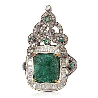 18k Gold Carved Emerald Pave Diamond Designer Ring 925 Sterling Silver Jewelry