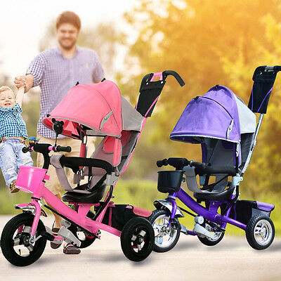 Smart Design 4-in-1 Childrens Tricycle Kids Trike 3 Wheel Bike Parent  control b