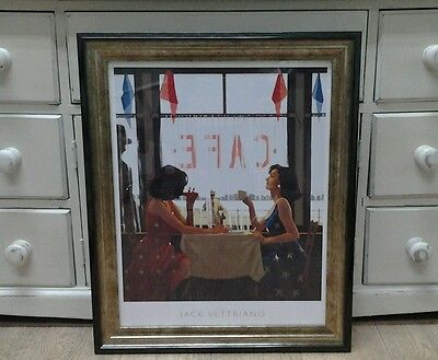 Cafe Days by Jack Vettriano Large Deluxe Framed Art Print Romantic