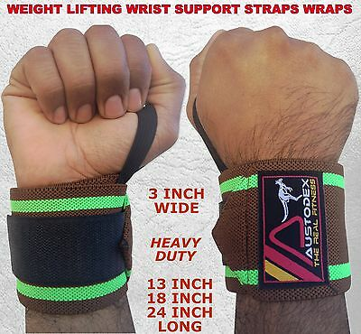 Austodex Weight Lifting Bodybuilding Gym Gloves Wrist Support Bar Straps Wraps