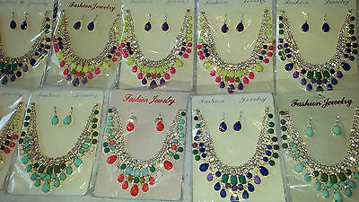 Joblot 10 pcs Diamante sets - Necklace & Earrings Wedding Prom wholesale A1