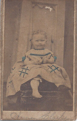 1863 Lexington Ky Cdv Toddler Anne Clarke Seated Portrait Tinted & Barefoot