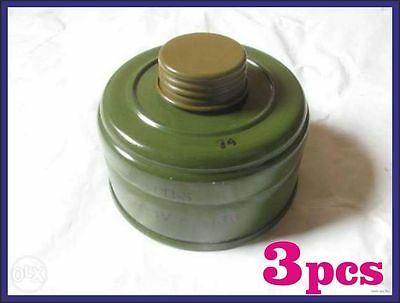 3 pcs Gas Mask Replacement Filters 40mm for GP-5, GP-5M, GP-7, NATO, Israel PMK