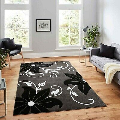 Large Small  Grey Black  Medium Thick 12Mm High Quality Polypropylene Flower Rug