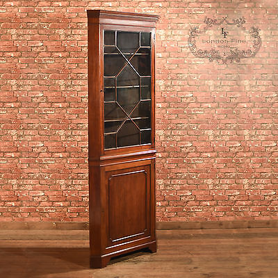 Antique Glazed Corner Cabinet, Tall Edwardian Display Cupboard, Mahogany English • £1,375.00