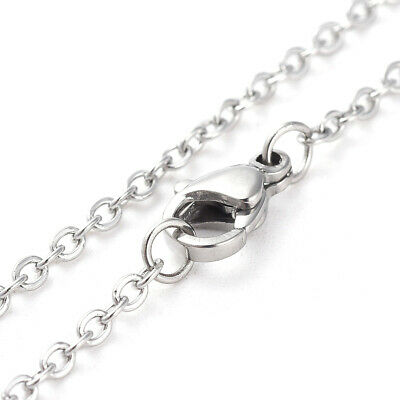 20pcs 304 Stainless Steel Women Chain Necklaces Stainless Steel Color 17.32""