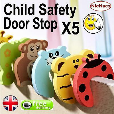 Child Safety Door Stop x 5!! Protect Fingers Stopper Guard Infant Baby Safe UK