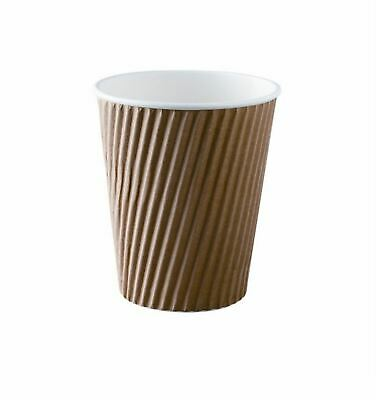 Metro Cup Rippled Cup, 16oz, Brown, White Lid, Pack of 100