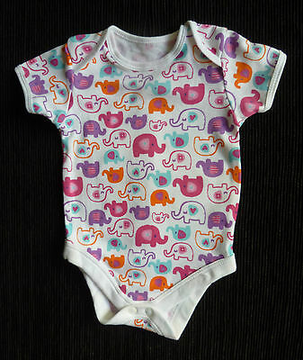Baby clothes GIRL 0-3mbright elephants pink/orange/purple/aqua bodysuit SEE SHOP