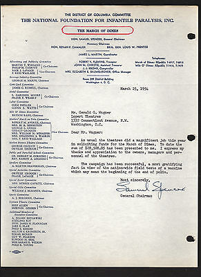MARCH OF DIMES 1954 letter signed by Chairman Samuel Spencer * Gerald G. Wagner