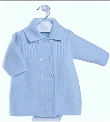 Baby Boys Spanish Style Sky Blue Double Breasted Knitted Coat