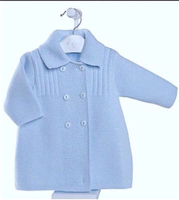 Boys Spanish Style Sky Blue Double Breasted Knitted Coat Newborn 0-18 Months