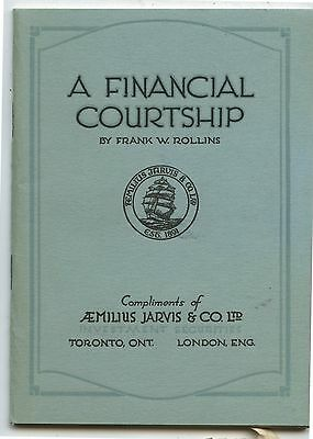Old 1930's Aemilius Jarvis & Co Financial Courtship Booklet Toronto ON
