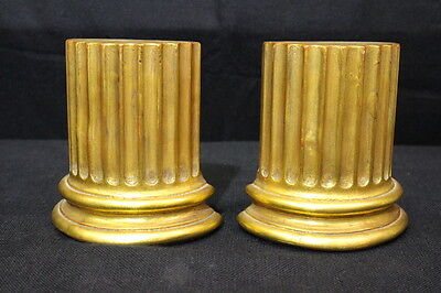 Borghese Pair of 2 Ancient Greek/Roman Gilded Gilt Gold COLUMN Base Bookends