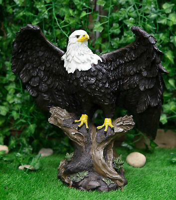 "Large 18"" Height Perching American Bald Eagle Statue Home Garden Decor Figurine"