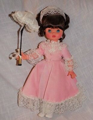 """Furga 17"""" Doll Made in Italy Vintage  Brunette Doll Has Parasol"""