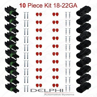 Delphi Weather Pack 2 Pin Sealed Connector Kit 18-22 GA !!!10 COMPLETE KITS!!