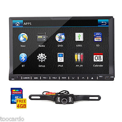 "Double 2din 7"" In dash GPS Car stereo DVD Player Touch Screen Bluetooth + Camera"