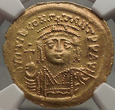 TIBERIUS II CONSTANTINE 578AD NGC Certified MS Byzantine GOLD Coin i53481