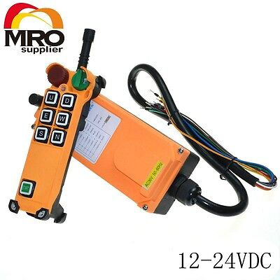 12-24VDC 6 Channel 1 Speed  Hoist Crane Truck Radio Remote Control with E-Stop