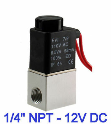 1/4'' 2 Way Normally Closed Pneumatic Aluminum Electric Solenoid Air Valve 12V
