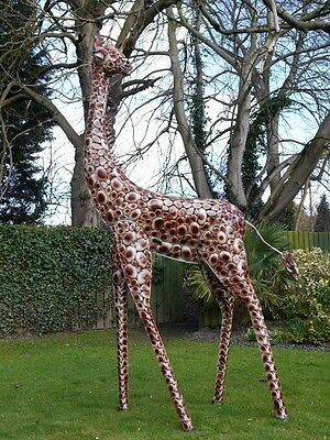 Superb Life Size hand painted Metal Giraffe. 3.7m Indoors/Statue/Film Prop giant