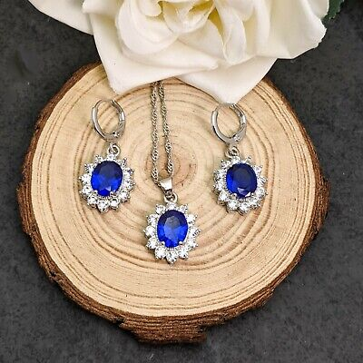 Silver Plated Royal Blue And White Cubic Zirconia   Necklace Earrings Set