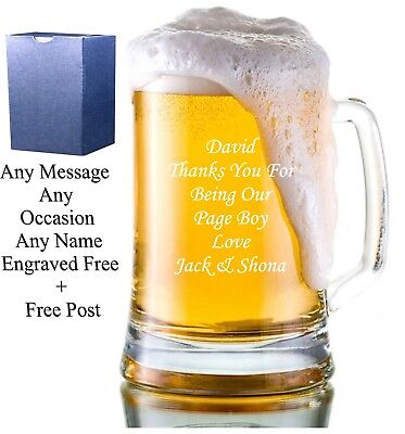 Personalised Engraved Glass Tankard Best man Birthday Usher Best Man Gifts