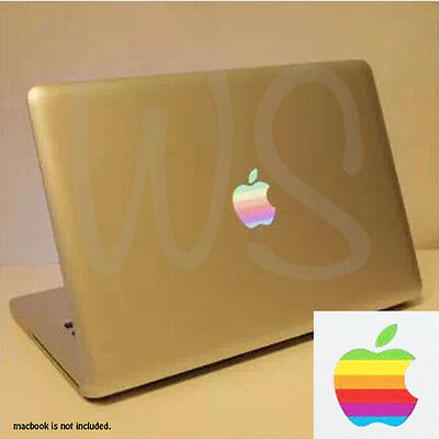 "2x Retro Apple Rainbow Logo Vinyl Sticker Decal for Macbook Pro 13"" 15"" 17"""