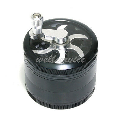 4-layer Aluminum Hand Crank Herbal Herb Tobacco Grinder Smoke Grinders Black AU