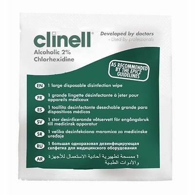 Clinell 2% Alcoholic Large Disposable Disinfection Wipes, Pack of 200