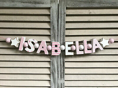 """Isabella"" Pink Wooden Letters Babyname Nursery Decor Personalized Baby Name"