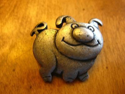 Pig   Pewter  Pin Button Brooch